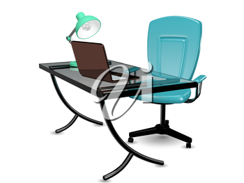 3d abstract illustration glass office desk and chair