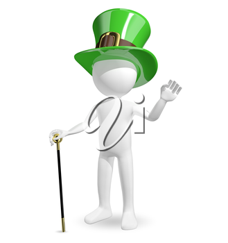 3d illustration man in hat St. Patrick's on a white background