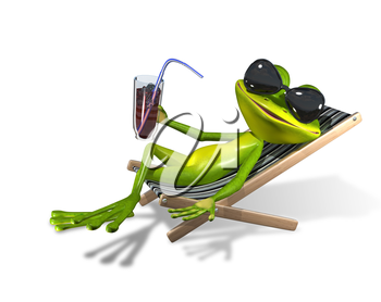 Royalty Free Clipart Image of a Frog Lounging