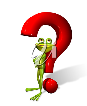 Royalty Free Clipart Image of a Frog in a Question Mark