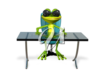 Royalty Free Clipart Image of a Frog Sitting at a Desk
