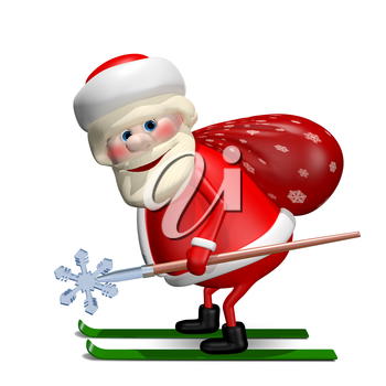 3D Illustration of Santa Claus with a Bag by Ski with Staff
