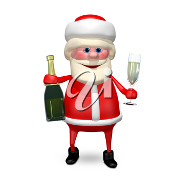 3D Illustration Santa Claus with Glass Champagne