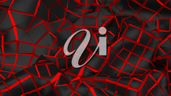 3D Illustration Abstract Black Background with Glare and with the Red