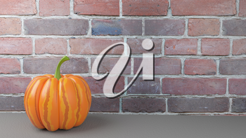 3d Illustration of the Great Pumpkin on the Background of the Brick Wall