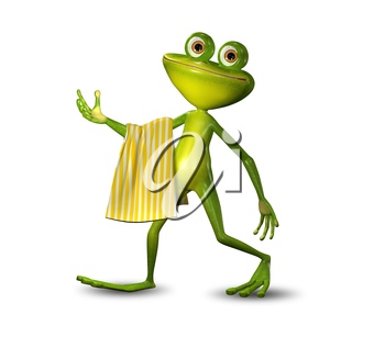 3d Illustration of a Green Frog Walking with a Yellow Towel
