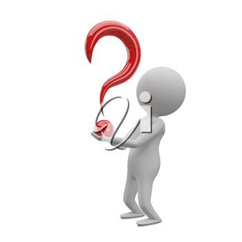 3D Illustration of an Abstract Man with a Question Mark in his Hands on a White Background