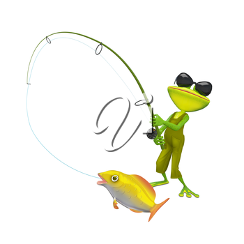 3D Illustration of a Fisherman Frog on a White Background