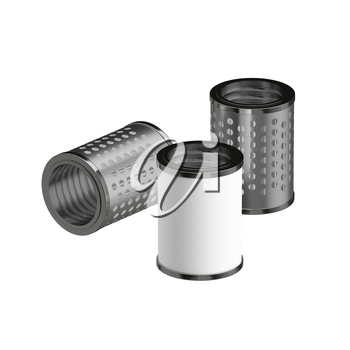 3d illustration Metallic Chrome Plated Industrial Part Filter
