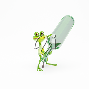 3D Illustration Green Frog with a Green Bottle with Wine on White Background