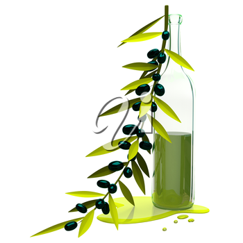 3D Illustration Black Olive Branch and Bottle with Oil on White Background