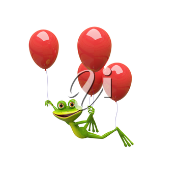 3D Illustration Frog Flies on Red Balloons on a White Background