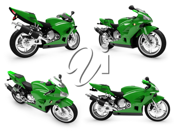 Royalty Free Clipart Image of Motorcycles