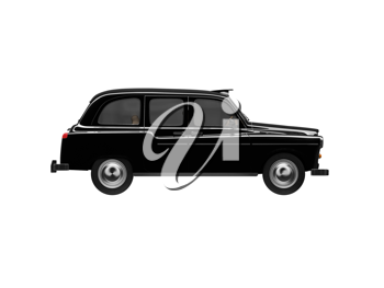 Royalty Free Clipart Image of a Black Taxi