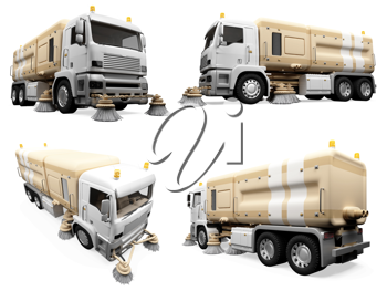 Royalty Free Clipart Image of Construction Trucks