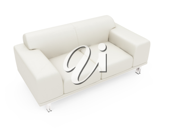 Royalty Free Clipart Image of a White Couch