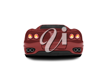 Royalty Free Clipart Image of a Red Ferrari