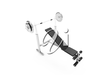 Royalty Free Clipart Image of a Bench With Weights