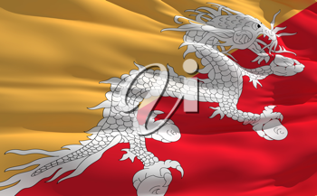 Royalty Free Clipart Image of the Flag of Bhutan