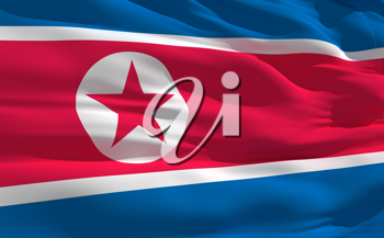 Royalty Free Clipart Image of the Flag of North Korea