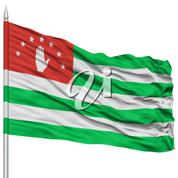 Abkhazia Flag on Flagpole, Flying in the Wind, Isolated on White Background