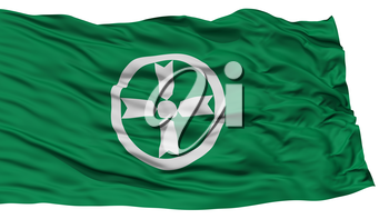 Isolated Akita Flag, Capital of Japan Prefecture, Waving on White Background, High Resolution