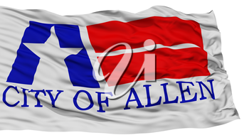 Isolated Allen City Flag, City of Texas State, Waving on White Background, High Resolution