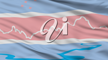 El Chalten City Flag, Country Argentina, Closeup View, 3D Rendering