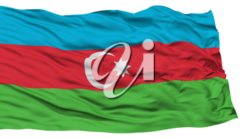 Isolated Azerbaijan Flag, Waving on White Background, High Resolution