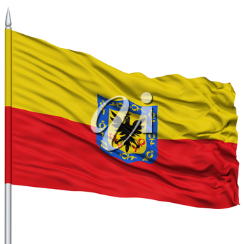 Bogota City Flag on Flagpole, Capital City of Colombia, Flying in the Wind, Isolated on White Background
