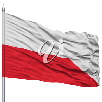 Bratislava City Flag on Flagpole, Capital City of Slovakia, Flying in the Wind, Isolated on White Background