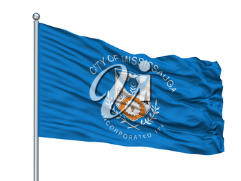 Mississauga City Flag On Flagpole, Country Canada, Isolated On White Background, 3D Rendering