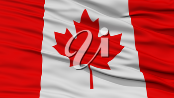 Closeup Canada Flag, Waving in the Wind, High Resolution