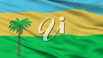 Concon City Flag, Country Chile, Closeup View, 3D Rendering