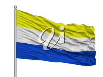 Panguipulli City Flag On Flagpole, Country Chile, Isolated On White Background, 3D Rendering