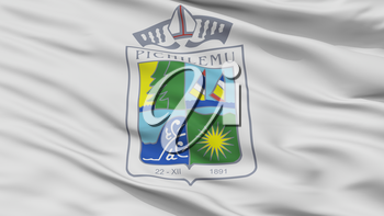 Pichilemu City Flag, Country Chile, Closeup View, 3D Rendering
