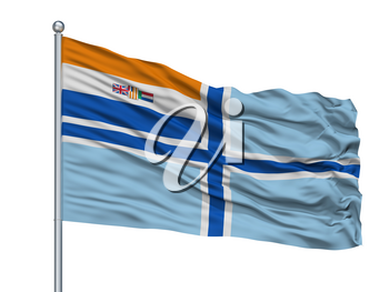 Civil Air Ensign Of South Africa Obsolete Flag On Flagpole, Isolated On White Background, 3D Rendering