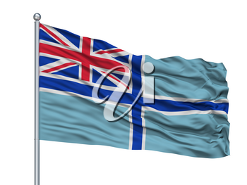 Civil Air Ensign Of United Kingdom Flag On Flagpole, Isolated On White Background, 3D Rendering