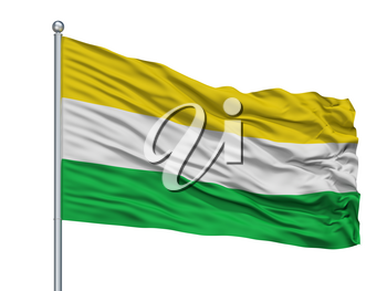 Gamarra City Flag On Flagpole, Country Colombia, Cesar Department, Isolated On White Background, 3D Rendering