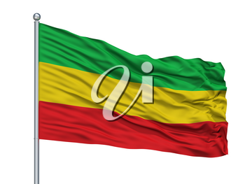 Taraza City Flag On Flagpole, Country Colombia, Isolated On White Background, 3D Rendering