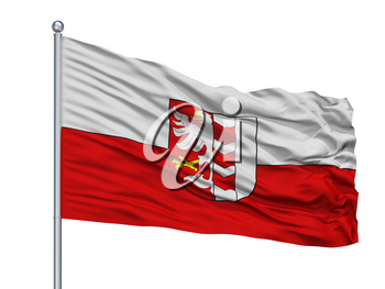 Opava Flag City Flag On Flagpole, Country Czech Republic, Isolated On White Background, 3D Rendering