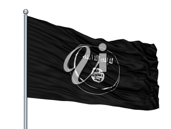 Eastern Indonesian Mujahideen Mujahidin Flag On Flagpole, Isolated On White Background, 3D Rendering