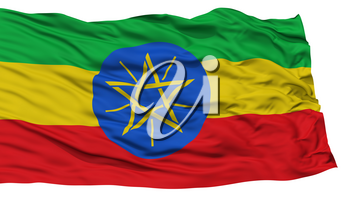 Isolated Ethiopia Flag, Waving on White Background, High Resolution