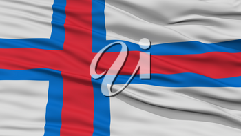 Closeup Faroe Islands Flag, Waving in the Wind, High Resolution