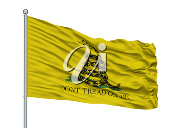 Gadsden Flag On Flagpole, Isolated On White Background, 3D Rendering