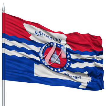 Jefferson City Flag on Flagpole, Missouri State, Flying in the Wind, Isolated on White Background