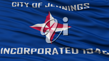 Closeup of Jennings City Flag, Waving in the Wind, Missouri State, United States of America