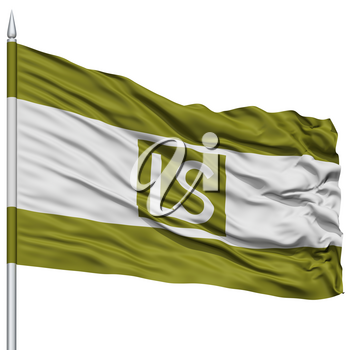 Lees Summit City Flag on Flagpole, Missouri State, Flying in the Wind, Isolated on White Background