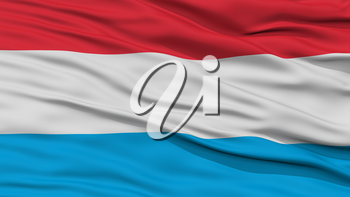 Closeup Luxembourg Flag, Waving in the Wind, High Resolution
