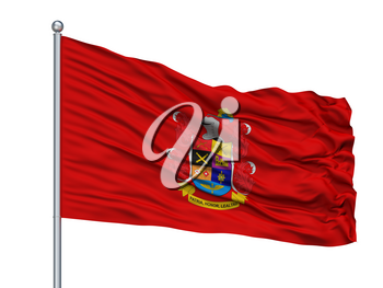 National Army Of Colombia Flag On Flagpole, Isolated On White Background, 3D Rendering
